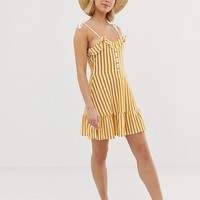 ASOS DESIGN mini sundress with button front and pep hem in stripe | ASOS
