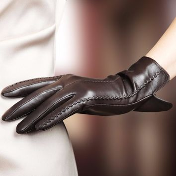 Elegant Women Lambskin Leather Gloves