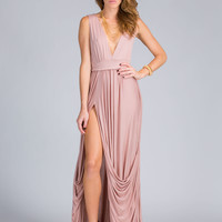 Goddess Material Draped Slit Maxi