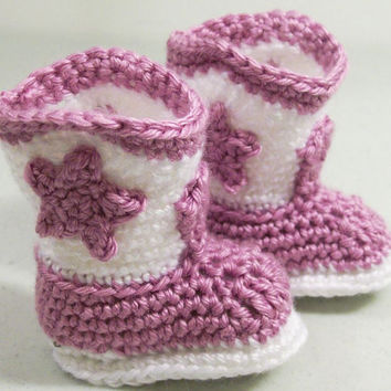 Baby Girl Cowboy Boots in Lavender and White--Crochet--Baby shower Gift-Made in the USA