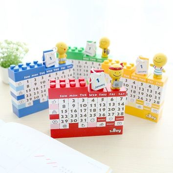 DIY Building Blocks Perpetual Calendar Creative Decoration for  Home or Office Table