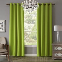 SunnyRain 1-Piece Green Curtain For Living Room Blackout Curtain For Bedroom Drapes Window Curtains Punching cotinas