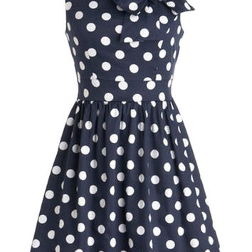 Blue Polka Dot Bow Knot Sleeveless Sheath A-Line Mini Skater Dress