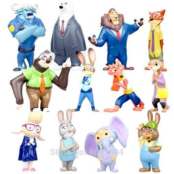 12pcs/set Zootopia Movie Nick Fox Judy Rabbit Disny Anime Zootropolis PVC Action Figures Miniatures Animals Figurines Dolls Toys