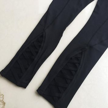 lulu LULULEMON bottom hollow out yoga pants high waist for women Black