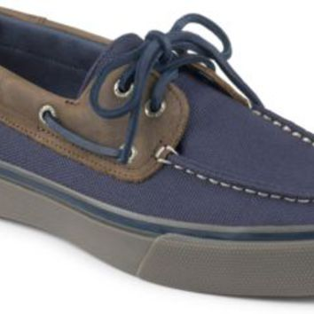 Sperry Top-Sider Bahama Heavy Canvas 2-Eye Boat Shoe Navy/Brown, Size 7.5M  Men's Shoes