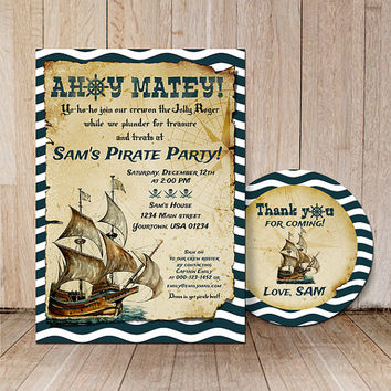 Pirate party invitation & thank you label / Kids pirate birthday invitations / Pirates invite card / Printable boys pirate ship invitation