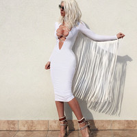 Chloe White Fringe Bandage Dress