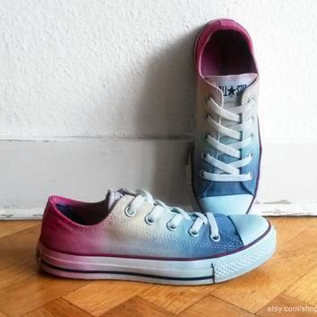 icy rainbow ombre converse dip dye upcycled vintage sneakers all stars chucks eu 3