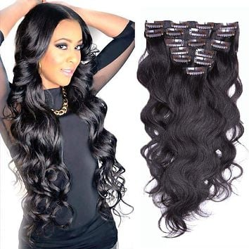 Brazilian Clip In Human Hair Extensions 7/8/10Pcs/Set Full Head Brazilian Body Wave Clip In 22 inches