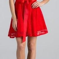 Point Of Perfection Illusion Red Lace Tulle Dress