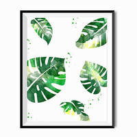 Beverly Hills Hotel Martinique Tropical Decor Watercolor Palm Leaf Summer Minimalist Modern Hawaii Plant Botanical Emerald Tropical Green