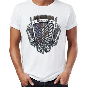 Cool Attack on Titan Men's T Shirt  Survey Corps Crest Recon Cops Artwork Drawing Printed Tee AT_90_11
