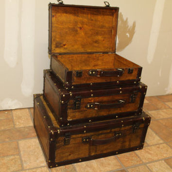 Great Storage Box, Antique Suitcase Style With Faux Leather Edges Set of 3