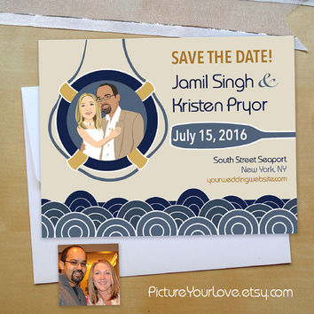 Nautical Save The Date Magnets: Custom Cartoon Portrait, Seaport Save The Dates, Wedding Portraits, Wedding Illustrations, Summer Wedding