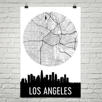 Los Angeles Skyline Silhouette Art Prints