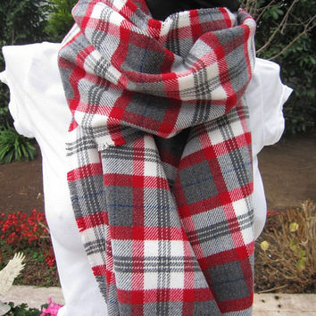 Red Gray White Tartan Classic Plaid Shawl, Flannel Shirt Fabric Shawl Scarf, Blanket Scarf, Tartan Classic Plaid Scarf, Soft, Camp Scarves
