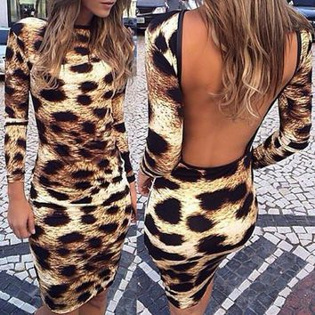 Leopard Print Long Sleeve Backless Bodycon Dress