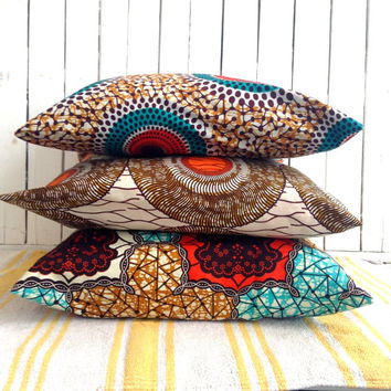 Trio of Cushion covers, Three throw pillow cover, Scatter cushion, African wax print  (17 inch) African decorative pillow