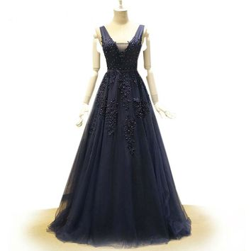 V Neck Open Back Elegant Gowns Royal Blue Prom Dresses Crystal Lace Tulle Applique Court Train Formal Evening Gowns Dresses