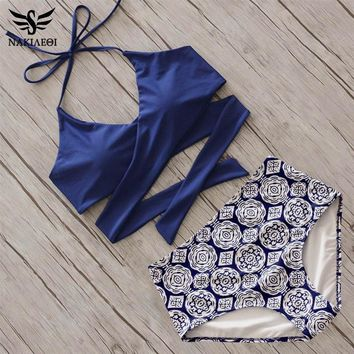 Sexy Cross Bikinis Women Swimwear High Wasit Swimsuit Push Up Bikini Set Halter Top Beach Bathing Suits Swim Wear