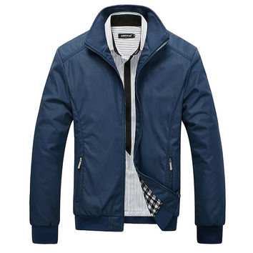 Men Jacket Male Casual Slim Fit Mandarin Collar Solid Jackets M-XXXL New Men's Fashion Overcoat Clothing