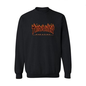 Fall and Winter Thrasher Flame Skateboard Tide Death Hip Hop West Coast Harajuku cotton round neck sweater Black letters-1