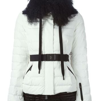 Moncler Grenoble White Fur-Collar Quilted Jacket