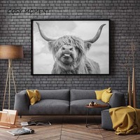 COSY MOMENT Highland Cattle Posters and Prints Black White Wall Art Canvas Painting Cow Wall Pictures For Living Room Decoration