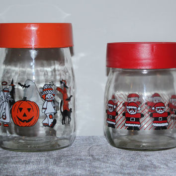 Vintage holiday Carlton Glass canisters with lids, Christmas jar, Halloween jar, candy jar