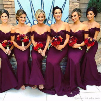 Sexy African Mermaid Burgundy Bridesmaid Dresses Off Shoulder Long Lace Wedding Party Dress Cheap Maid Of Honor Gowns