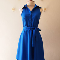 DOWNTOWN - Royal Blue Shirt Dress La La Land Blue Dress Color Vintage Modern Dress Bridesmaid Dress Casual Working Dress Summer Sundress