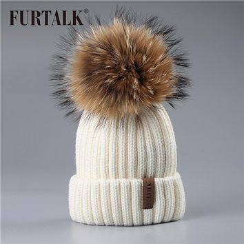 FURTALK Winter hat for Kids Ages 2-7 Knit Beanie winter baby hat for children fur Pom Pom Hats for girls and boys
