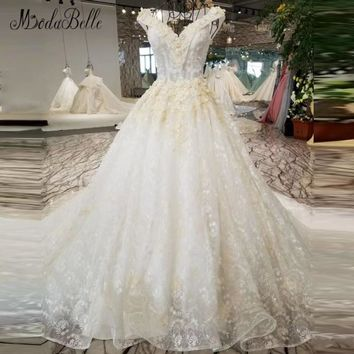 modabelle Beaded Wedding Gowns For Bride Arabic Organza Luxury Lace Floral Backless Ball Gown Wedding Dresses Real Foto 2018