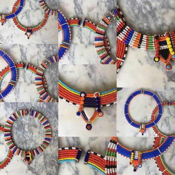 Hand Made Miamsai African Beaded Necklace / Choker - Multi Color - Adjustable -Jewelry from Africa