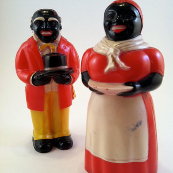 REDUCED PRICE Vintage Aunt Jemima Uncle Mose Americana Salt & Pepper Shakers F and F Mold and Die Works