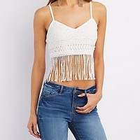 FRINGED LACE CROP TOP