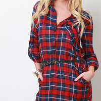 Belted Plaid Button-Up Dress