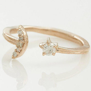 14k Gold and Diamonds Celestial Cuff Ring