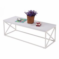 Costway Rectangular Accent Coffee Table Modern Contemporary Living Room Furniture White - Walmart.com