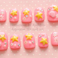 Kawaii nails deco nails fairy kei sweet lolita Japanese by Aya1gou
