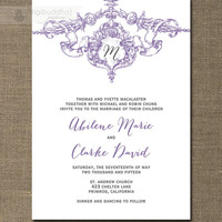 Purple & Gray Antique Monogram Wedding Invitation Purple and Gray Shabby Chic Traditional Vintage Rustic DIY or Printed - Abilene Style