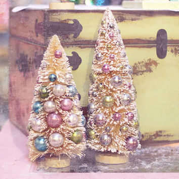 "Christmas photography, holiday photography, ""Vintage bottle brush trees"", holiday decor,home decor,wall art,fine art photography,pastel,pink"