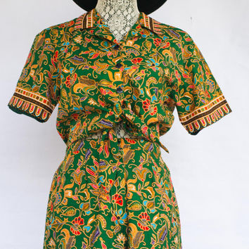 Vintage African Print Fabric Crop Top And Shorts 2 pc Set.