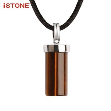 iSTONE 100% Natural Gemstone Crystal Cross 925 Sterling Silver Cowboy Rope Pendant Necklace Fine Jewelry Gift For Boy Valentine