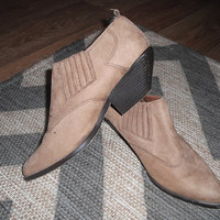 vintage suede Leather ZODIAC Ankle boots ~ Western slip on Tan Soft brown Size 7