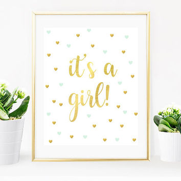 Digital Print, Its A Girl Sign, Baby Shower Party, Metallic Gold, Baby Shower Decorations, Gold Foil, Printable Party Sign, Baby Decor