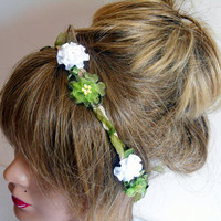 Green White Flower, Crown, Crown Wedding Flowers, flower petals, Boho crown, the head string, the Crown Flower Festival, Boho Flower Petals