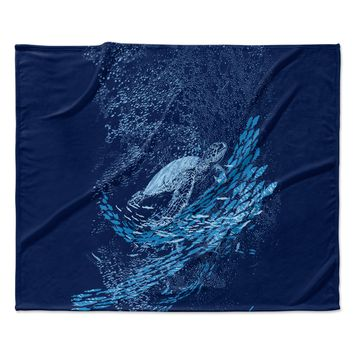 "Frederic Levy-Hadida ""The Turtle Way"" Aqua Blue Fleece Throw Blanket"