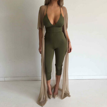3 Colors Tight Fitted Jumpsuits For Women 2017 Summer Solid Color Club Jumpsuits Rompers Female Slim Clothing Long Pant Overalls